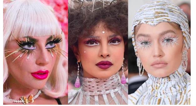 Met Gala 2019 las hermosas Priyanka Chopra, Lady Gaga, y Gigi Hadid lucieron unos maquillajes de fantasía pestañas hollywood