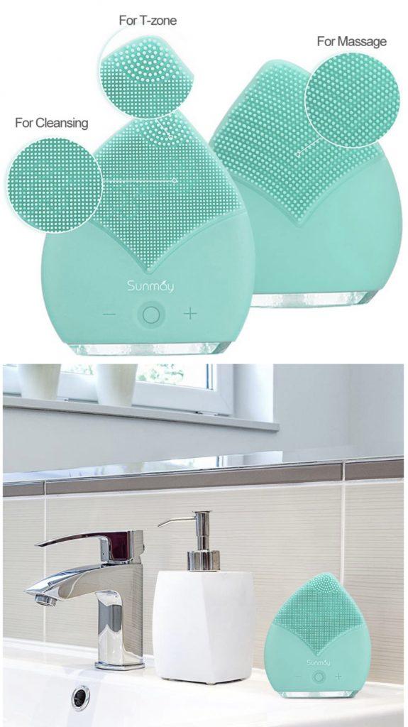 Limpiador Facial Impermeable Eléctrico Masajeador con Silicona FDA Recargable Vibraciones Sónicas Dispositivo para Exfoliación la Cara